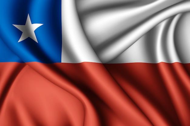 Ondeando la bandera de seda de chile
