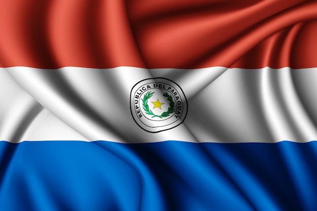 Ondeando la bandera de seda de paraguay