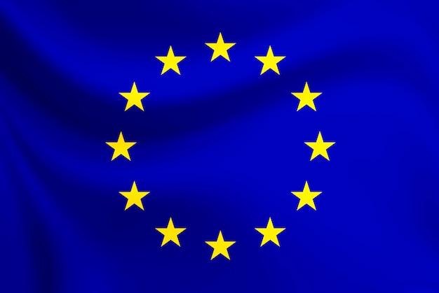 Ondear la bandera de la unión europea