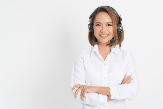 Operador de call center mujer.