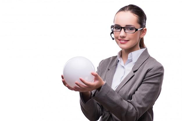 Operador de centro de llamadas en concepto de negocio aislado en blanco
