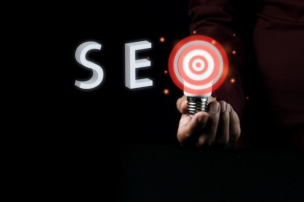 Optimización de motores de búsqueda idea de concepto fotográfico con poca luz para publicidad comercial
