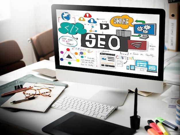 Optimización de motores de búsqueda seo concepto digital de internet