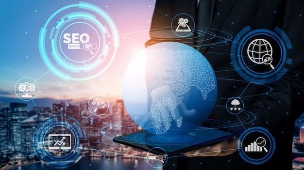 Optimización de motores de búsqueda seo para el concepto de marketing online