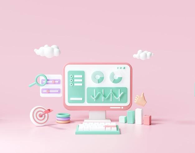 Optimización seo 3d, análisis web y concepto de marketing seo. ilustración de render 3d
