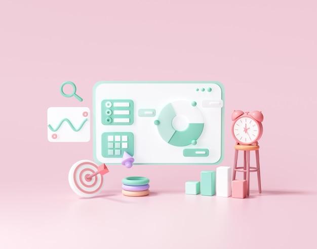 Optimización seo 3d, análisis web y concepto de redes sociales de marketing seo. ilustración de render 3d