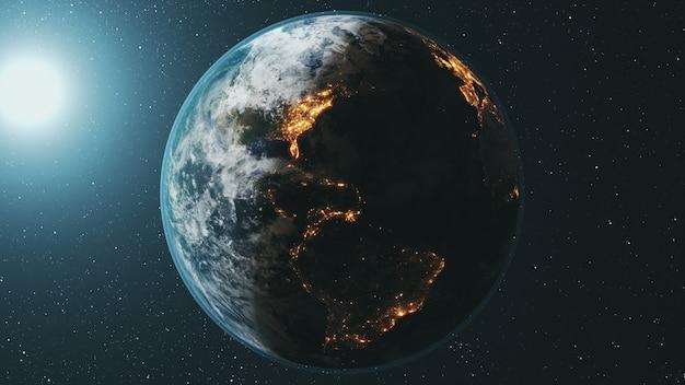 La órbita del planeta tierra girando al sol brillante en el oscuro espacio exterior