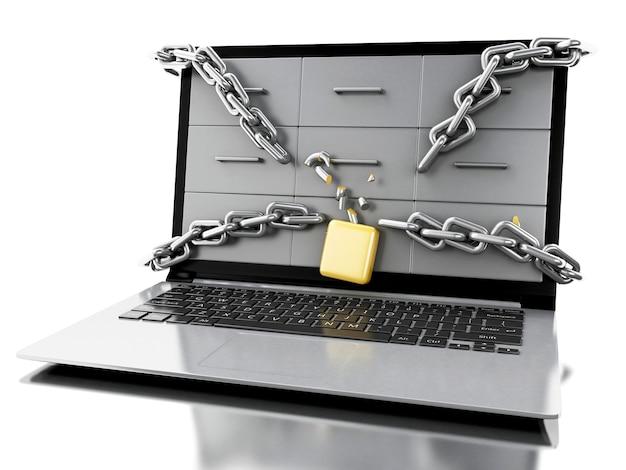Ordenador portátil 3d con las cadenas de seguridad rotas.