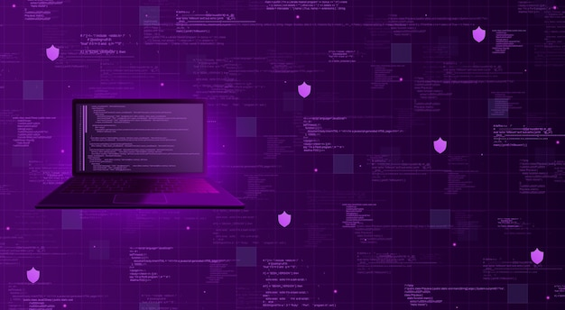 Ordenador portátil con código de programa sobre fondo tecnológico con elementos de código de programa y escudos