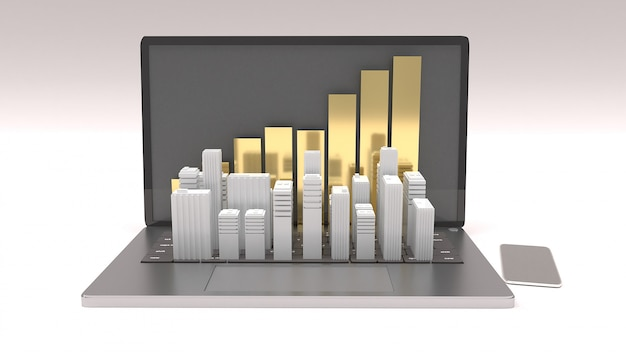 Ordenador portátil y edificio blanco para el concepto de propiedad 3d rendering