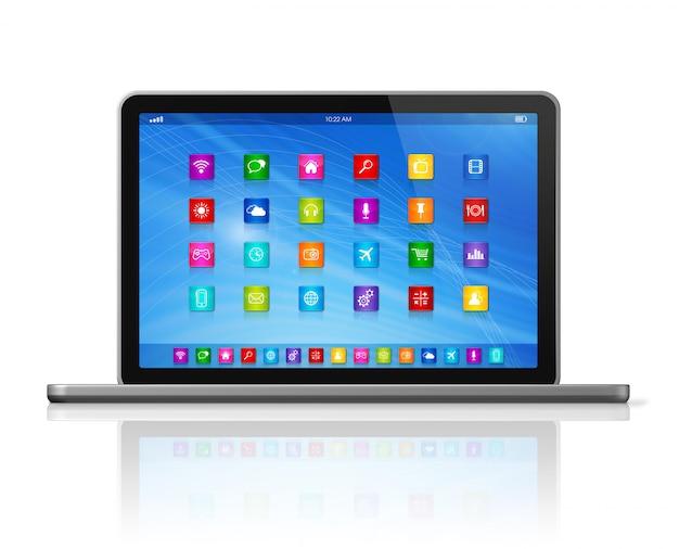 Ordenador portátil - interfaz de iconos de aplicaciones