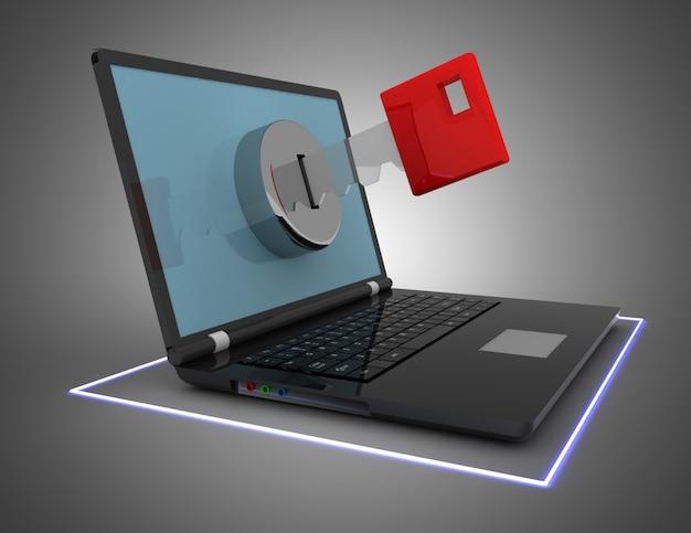 Ordenador portátil y llave, concepto de seguridad. ilustración 3d