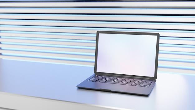 Ordenador portátil negro colocado sobre la mesa de metal con luz azul. imagen de ilustración 3d.