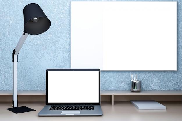 Ordenador portátil con pantalla en blanco en la mesa en el interior de una casa.