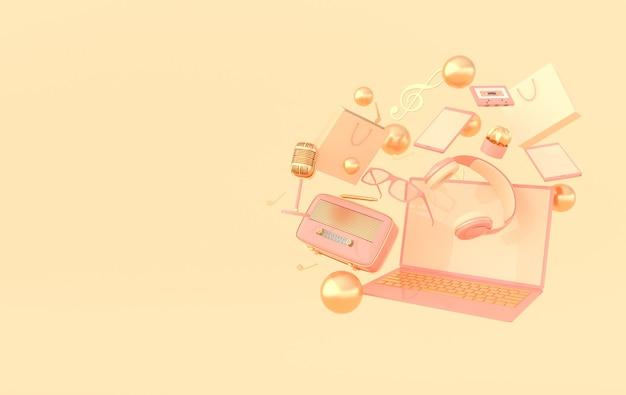 Ordenador portátil smartphone bolsa de compras gafas micrófono radio auriculares renderizado