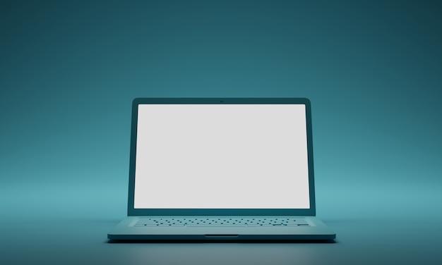 Ordenador portátil verde con pantalla en blanco en blanco sobre fondo verde. plantilla de maqueta de pantalla.