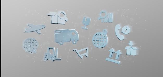 Organización logística con representación 3d de iconos y conexiones.