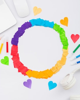Orgullo día concepto círculo de colores