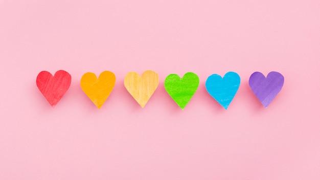 Orgullo lgbt sociedad día línea de corazones