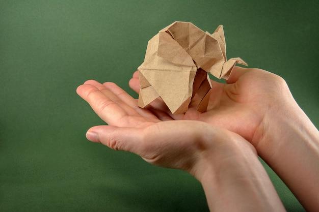 Origami baby elephant craft paper sobre un fondo verde en la mano, el concepto de ahorro de papel y bosques,