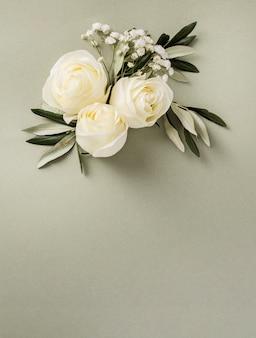 Ornamento floral de boda de espacio de copia