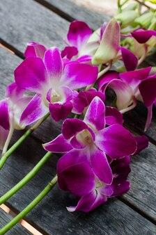 Orquídeas rosadas en mesa de madera