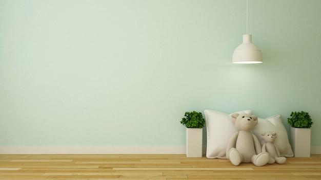 Oso de muñeca y almohada en la habitación de los niños o en la cafetería - representación 3d