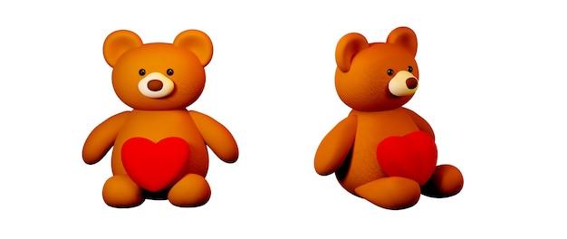 Un oso de peluche con un corazón sobre fondo blanco concepto de celebración para mujeres felices, papá mamá, dulce corazón, pancarta o folleto diseño de tarjeta de regalo de felicitación de cumpleaños. cartel de saludo de amor romántico 3d.