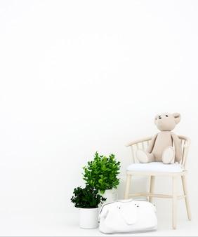 Oso de peluche en el sillón y la bolsa de fondo blanco para obras de arte,