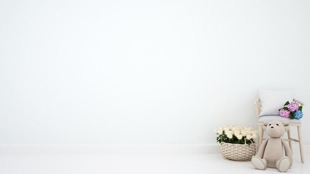 Oso de peluche con sillón y flor para obras de arte - representación 3d