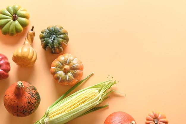 Otoño cosecha calabazas mazorcas de maíz hojas coloridas sobre fondo naranja maqueta del día de acción de gracias de otoño