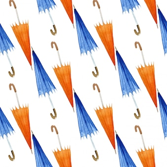 Otoño de patrones sin fisuras con sombrillas, ilustración acuarela