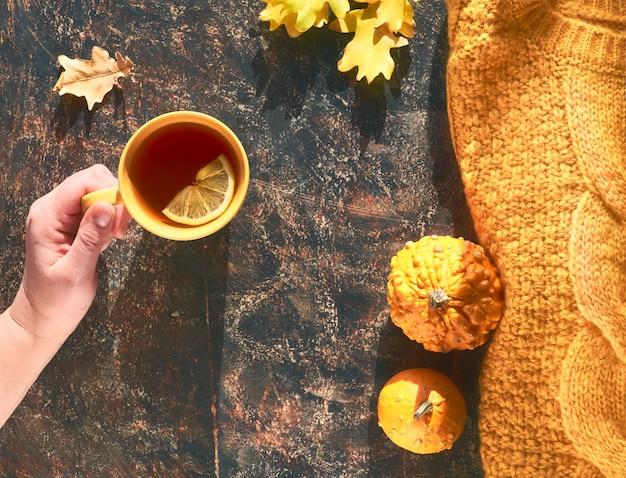 Otoño plano con suéter amarillo, calabazas decorativas, hojas de roble y una taza de té con limón en la oscuridad.