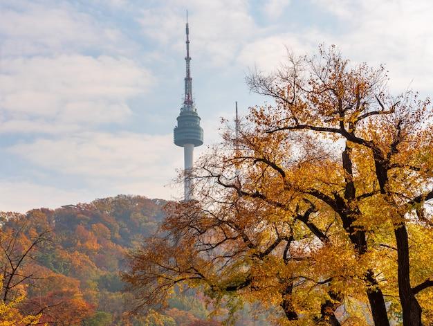 Otoño de la torre namsan en seúl, corea del sur