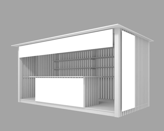 Pabellón de madera con espacio para publicidad, ilustración 3d.