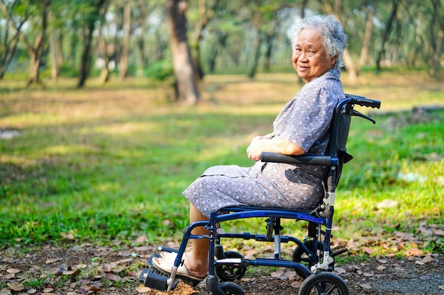 Paciente mayor o mayor asiático de la mujer de la señora mayor en la silla de ruedas en parque