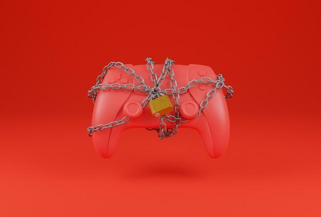 Pad de juego rojo con una cadena enredada y un candado que lo cierra sobre un fondo rojo. concepto de jugador. representación 3d
