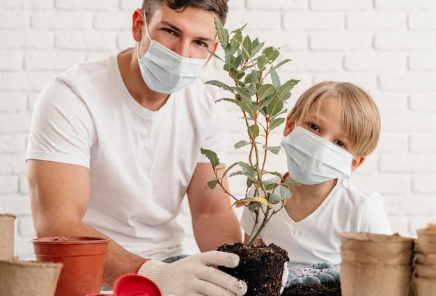 Padre e hijo aprenden a plantar juntos en casa