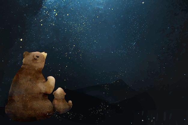 Padre e hijo oso mirando la galaxia.