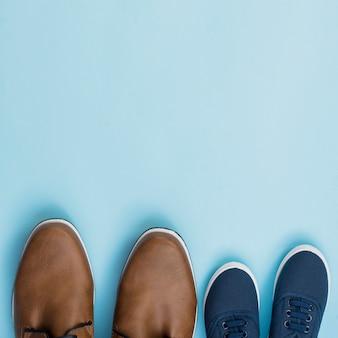 Padre e hijo par de zapatos