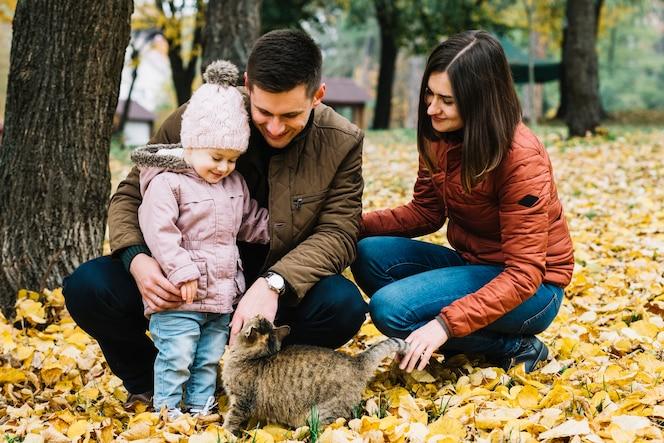 Padres jóvenes y niño pequeño jugando con gato en el parque de otoño