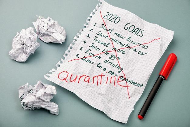 Página de bloc de notas con objetivos anuales tachados