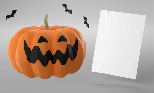 Página de papel con calabaza para halloween.
