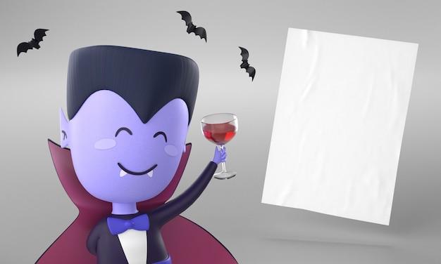 Página de papel con decoración de drácula para halloween