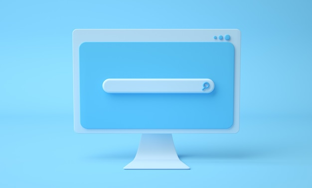 Página web de la barra de búsqueda en la pantalla de la computadora de dibujos animados, fondo azul. 3render