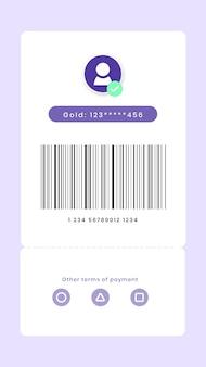 Pago digital con pantalla de código de barras para smartphone