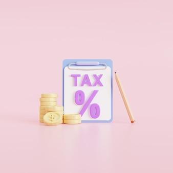 Pago de impuestos de concepto. monedas y el formulario de impuestos sobre fondo rosa. análisis de datos, papeleo, informe de investigación financiera, ilustración de render 3d