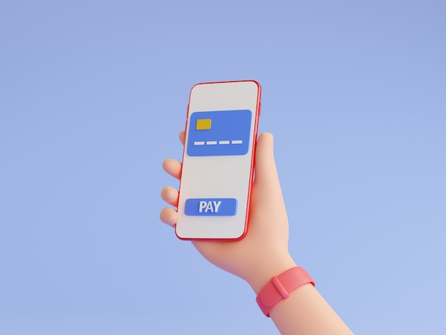 Pago en línea y monedero electrónico ilustración de procesamiento 3d. mano humana con relojes de pulsera con teléfono móvil con tarjeta de crédito y botón de pago en la pantalla táctil. compras en línea, concepto de transferencia de dinero.