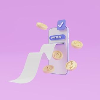 Pago en línea en un teléfono inteligente, factura saliendo de la pantalla. monedas paga ahora. ilustración de render 3d
