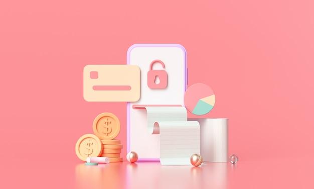 Pago de renderizado 3d a través del concepto de tarjeta de crédito.